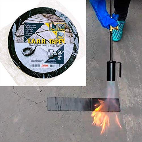 Driveway Crack Filling, Pothole Patching, Waterproofing, Self-adhere Asphalt Torch Burn-on Sealant 2 inch x50 ft (1)