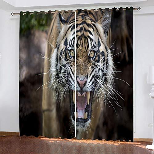 ZXPAG 3D Cortina Opaca Con Ojales Cortinas Térmicas Aislantes Decoración Ventanas -Impresión Digital Cocina De Dormitorio De La Sala De Estar - 183X160Cm - Tigre Animal Feroz