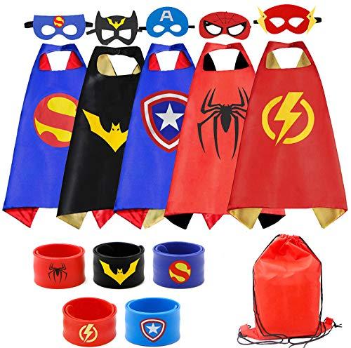 Kids Dress Up Superhero Capes with Masks and Slap Bracelets