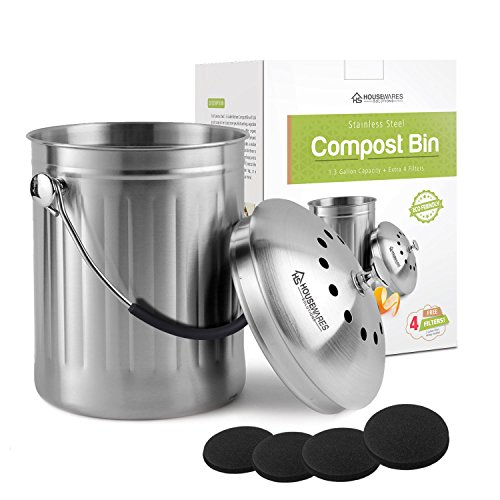 Housewares Solutions Cubo de basura de acero inoxidable a prueba de fugas, 1.3 galones, incluye 4 filtros extra gratis