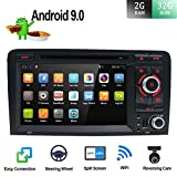 Android 9.0 Double DIN Autoradio für Audi A3 2003–2011 HD 17,8 cm 2G RAM + 32 G ROM Auto Audio GPS Navigation Headunit Support WiFi 4G Bluetooth Lenkrad Google DAB OBD Free Backup Kamera...