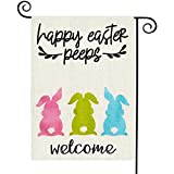 TGOOD Welcome Peeps Easter Garden Flag Double Sided Easter Bunny Vertical Burlap House Flags, Spring Garden Flag Rustic Farmhouse Yard Outdoor Decoration Banner Buffalo Check Plaid 12.5 x 18 Inch