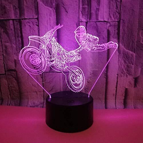 3D Lámpara de luz de noche de inteligente Sala de flores de motos de acrobacias decoración de dormitorio regalo lámpara de noche creativa regalo Con interfaz USB, cambio de color colorido