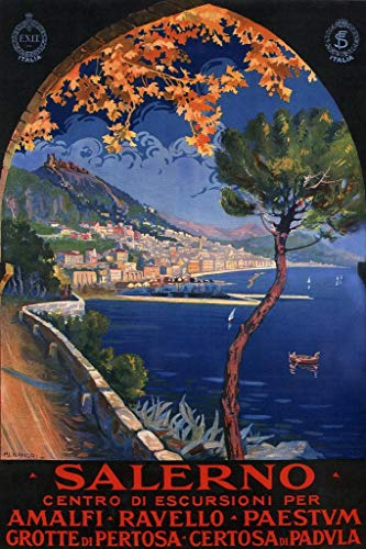 Salerno Italy Amalfi Coast Ocean Resort Vintage Travel Cool Wall Decor Art Print Poster 24x36