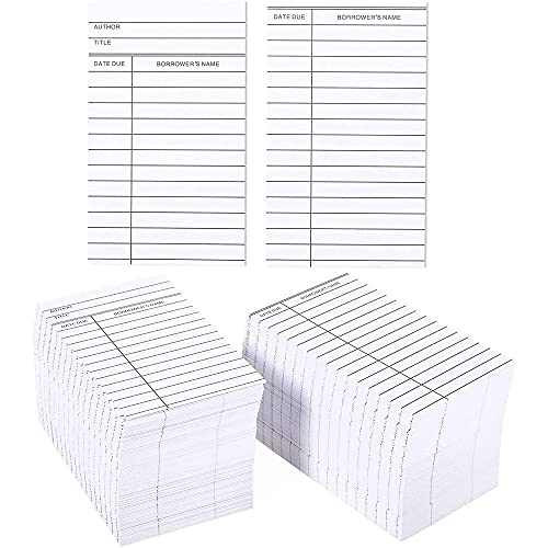 Set of 500 Library Cards - Library Book Cards for Public Library Record Keeping, Tracking, Book Borrowing, White