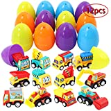 FunsLane 12 Pcs Easter Eggs Filled with Pull Back Vehicles, 3.15 Inches Large Plastic Surprise Eggs Prefilled with Cars, for Easter Basket Stuffers, Egg Hunting, Easter Goodie Bags, Party Favor