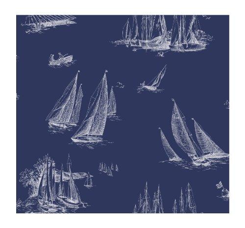 York Wallcoverings Nautical Living Sailboat Removable Wallpaper, Blueprint Blue/White