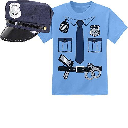 Kids uniform politie-kostuum carnaval set kinderen t-shirt en politie-muts - maat 116-164.