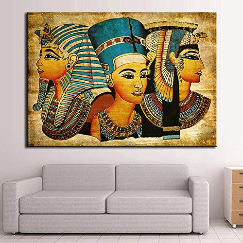 KINYNE Decoración Egipcia Cuadro sobre Lienzo Arte De La Pared Antiguo Egipto Imágenes para Sala De Estar Decoración Lienzos De Época Pintura Giclee Impresión Obra,A,50X75cm