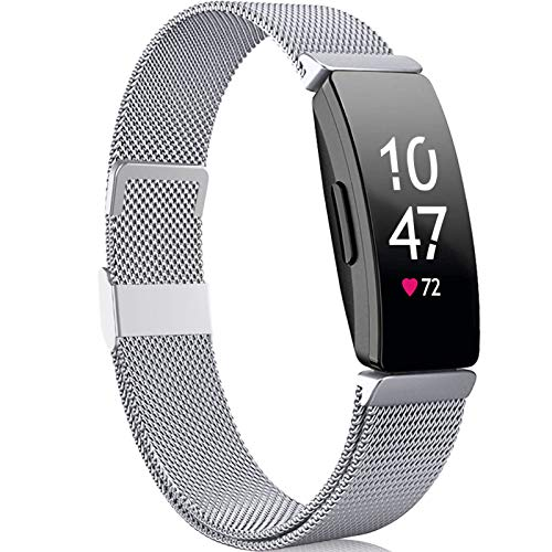 Faliogo Compatible para Fitbit Inspire Correa/Fitbit Inspire 2 Correa/Fitbit Inspire HR Correa, de Metal Acero Inoxidable Correa de Repuesto Compatible con Fitbit Ace 2, Pequeño, Plata