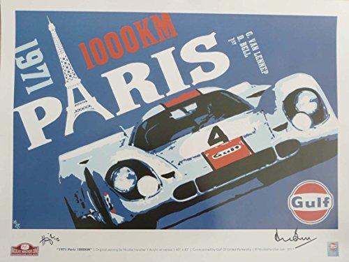 Nicolas Hunziker Gulf Porsche 917 - Paris 1000 Km 1971 - Poster Autographed by Driver Derek Bell and The Artist