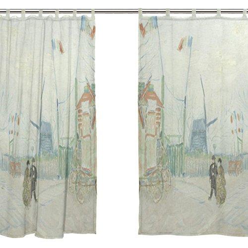 JSTEL 2 pcs Voile de rideau de fenêtre, van Gogh Peinture à l'huile Street, tulle Sheer Rideau Drape Lit 139,7 x 198,1 cm Ensemble de deux Panneaux