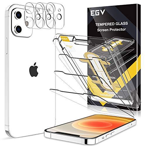 EGV 6 Stück Schutzfolie Kompatible mit iPhone 12 mini, 5.4 Zoll, mit 1 Stück Null Fehler Positionierhilfe,3 Folie & 3 Kamera Schutzfolie, 9H Festigkeit, HD Klar Bildschirmschutzfolie, Kratzfest, Transparent