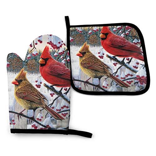 Cardinal Birds Oven Mitt