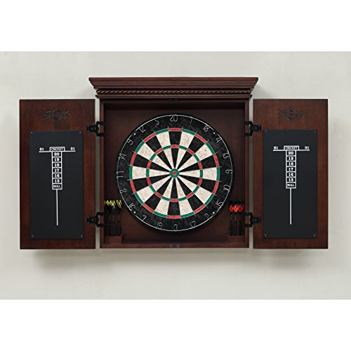 American Heritage Billiards Dartboard Cavalier Dart Board Cabinet in Mocha, 10 pc, Brown