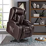 Artist Hand Electric Power Lift Leather Recliner, Lift Massage Chair for Elderly Pregnantly, Living Room Sofa Chair with 8 Point Massage, Lumbar Heated, Two Cup Holder