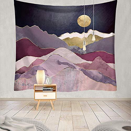 Vintage wandtapijt, kleurrijk, metallic, marmer, bergen, zonsondergang, maan, nachts, landschap, wandtapijt, maan en verrekijker, bos, kunst, achtergronddoek 79 * 59in Pattern7