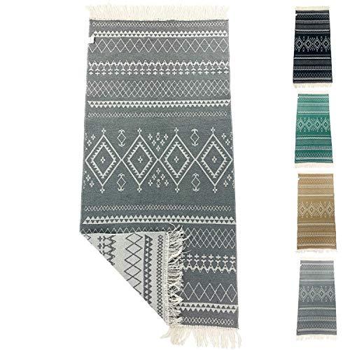 SOLTAKO Kleiner Kelim Badezimmer Teppich Läufer mit Fransen und Muster Retro Boho Ethno marokkanisch Berber waschbar Vintage (Pastellgrau/Ecru), 135 x 65 cm