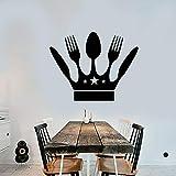 wZUN Crown Chef Pared calcomanía Chef Tenedor Cuchillo Cocina decoración Vinilo Pared Pegatina Impermeable Restaurante decoración 63X49cm