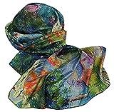 Goodforgoods Pañuelo 100% seda para mujeres, señoras con diseño de las pinturas de Van Gogh, irreversible, suave, delicado y ligero con las medidas de 170x63 cm. (Verde)