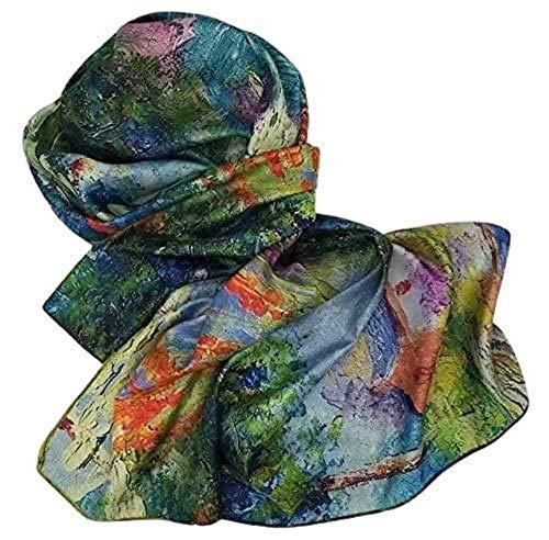 Goods4good Pañuelo 100% Seda Mujer/Señora Irreversible Pinturas Van Gogh Klimt Picasso 170x63cm Suave Ligero Regalo