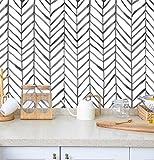 Herringbone Peel and Stick Wallpaper Black White