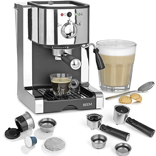 Beem 03260 Perfect | Macchina per caffè espresso con inserto capsule per capsule Nespresso, 20 bar | Basic Selection | Ugello per schiuma del latte | polvere di caffè, cialde, capsule in acciaio inox