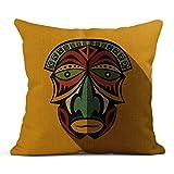 Dekokissen Brown Tribe afrikanische ethnische Stammes-Maske in Farbe flach Ritual Symbol Voodoo...