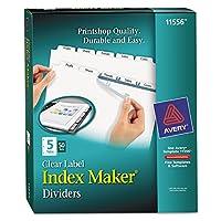 Avery 11556印刷&適用クリアラベルディバイダーW /ホワイトタブ、5-tab、手紙、50セット