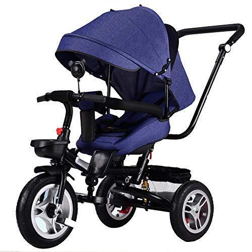 YUMEIGE Dreiräder Dreiräder Belastung 30 kg Stahl-Rahmen,standardkinderwagen Kinderwagen Stoßdämpfer, faltbaren,Dreirad für Kinder Titan leer Rad (Color : Blue)