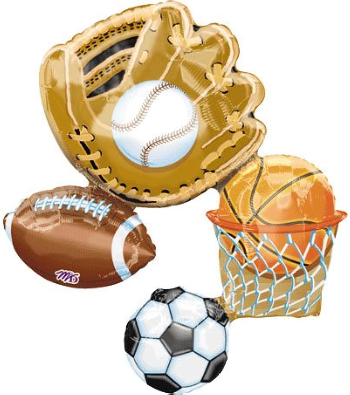 Sports Lg Mylar Balloon 32 Basketball Baseball Soccer Football (MULTI, 1) by Anagram