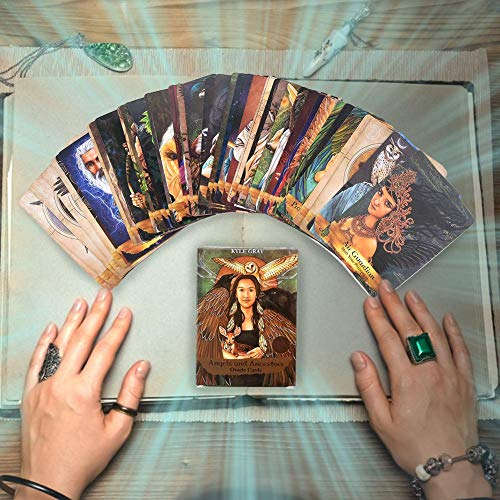 awhao-123 Ángeles y antepasados ​​Oracle Cards Juego de Mesa Tarot Cards Mini Tarot Deck 55pcs Card Deck and Guidebook Cards (English Edition) Cosy