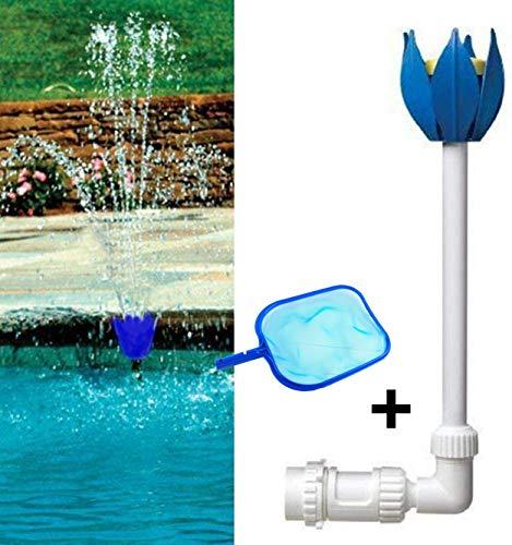 TIANXIAWUDI Pool Sprayer,Pool pumpe Pool Wasserfontäne Wasser Brunnen Springbrunnen Blütenform Wasser Sprinkler für Vogel Bad Teich Aquarium Garten Dekoration+Poolreinigung Laubkescher (B)