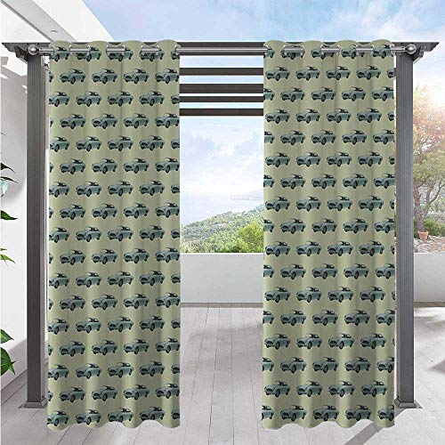 Outdoor Patio Curtain Out of Date Classic Automobiles Transportation Being on The Road Theme Blackout Patio Outdoor Curtains for Sliding Door/Foyer/Arbor/Lanai Almond and Pistachio W108 x L96 Inch