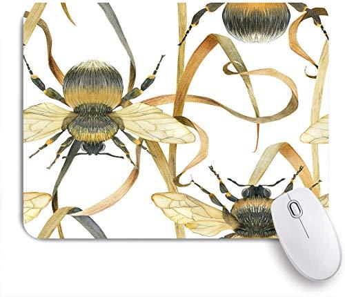 SUHOM Gaming Mouse Pad Rutschfeste Gummibasis,Aquarell Hummel und Wiese Pflanze,für Computer Laptop Office Desk,240 x 200mm