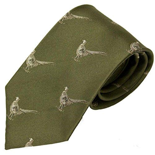 Bisley Pheasants Green 100% Silk Tie - Shooting and hunting - Handmade