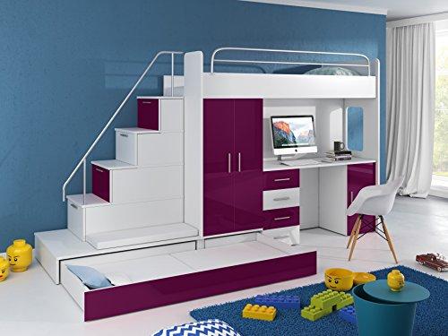 Möebel für Dich Cama alta Tomi – Escritorio, armario, escalera y cama de invitados con frentes brillantes en blanco/negro/rosa/gris/lila/azul (violeta).