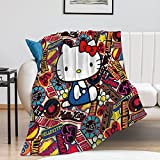 XIBHPA Hello Cat Cartoon Throw Blanket Adults & Baby Cozy Plush Fleece Velvet Blanket for Bedroom Bed,Couch Chair,Living Room,Air Conditioning Cool Blankets 40'×50'