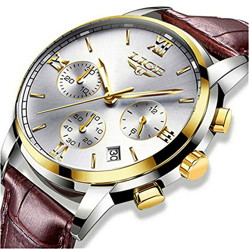Men's Luxury Business Quartz Watch, LIGE Fashion Analog Chronograph Wrist Watch with Brown Leather Band