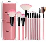 Juego de brochas profesionales de maquillaje para sombra, delineador, polvos, colorete, 12 unidades con estuche