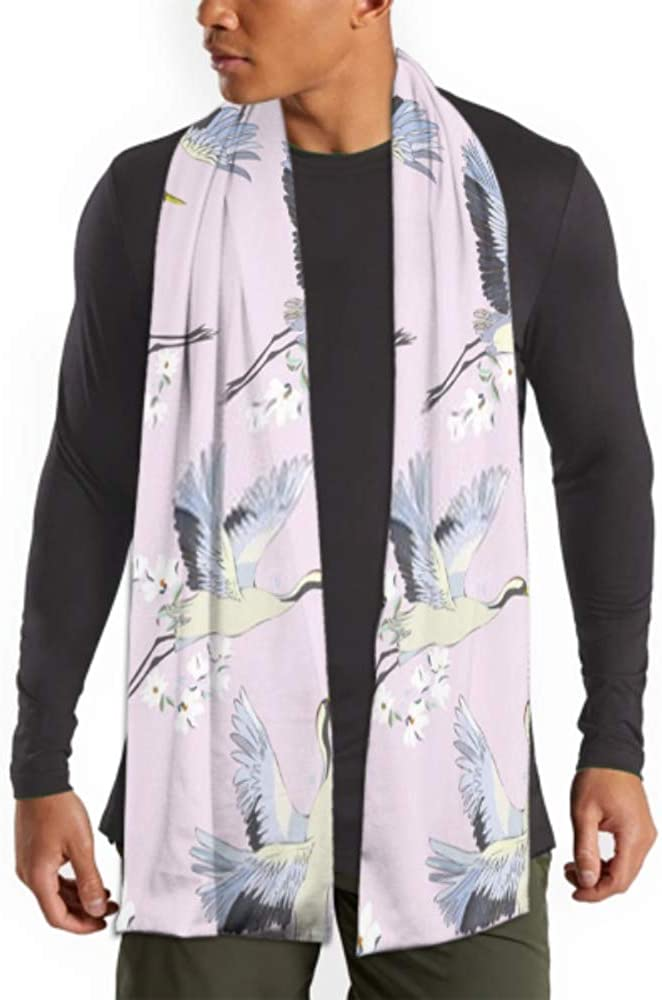 Men's And Women Winter Fashion Scarf Japanese Seamless Pattern Birds Water Traditional Long Plain Warm Soft Scarves For Men - Cotton Scarves For Win
