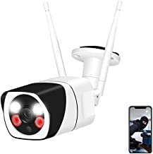 Outdoor Security Camera,WESECUU 1080P WiFi Home Camera with Floodlight and Siren Alarm,Two Way Audio Security Camera with ...
