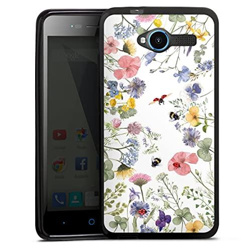 DeinDesign Silikon Hülle kompatibel mit ZTE Blade L3 Hülle schwarz Handyhülle Biene Blumen Muster