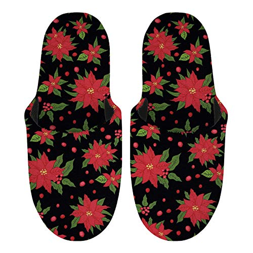 SEANATIVE Poinsettia Floral for Christmas Decor Womens House Slippers Indoor Outdoor Comfort Plush Fleece Slipper for Ladies Girls-L