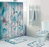 4-teiliges wasserdichtes Duschvorhang-Set für Badezimmer-Pfirsichblüte-Slip Badematte & 12 Haken,Vorhang-Set mit Teppich,Toilettendeckel-Abdeckung Badezimmerdekoration