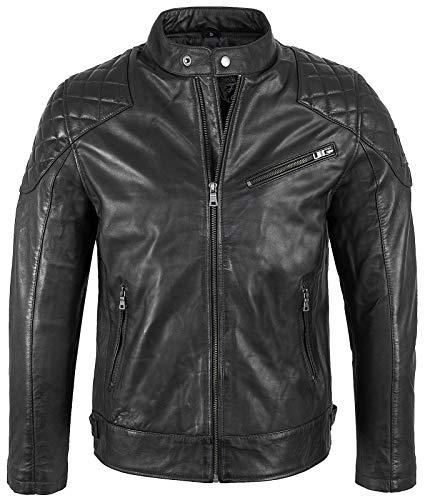 Rock Creek Herren Lederjacke Biker Jacke Echtleder Motorradjacke Leder Jacken Herrenjacke Braun Winterjacke, XL, Schwarz H-180
