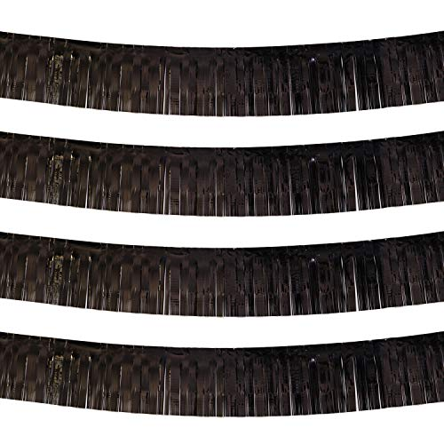Black Parade Float Foil Fringe Skirting Decorations- Pack of 4 - Each 10 Feet by 15 Inch, Metallic Tinsel Drapes Garland Party Supplies for Bridal Shower, Bachelorette, Easter Day, Halloween