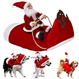 Unigant Santa Christmas Pet Costume Santa Claus Riding on Dog Apparel Party Dressing up Clothing Winter Hoodie Coat Dog Clothes (XL)