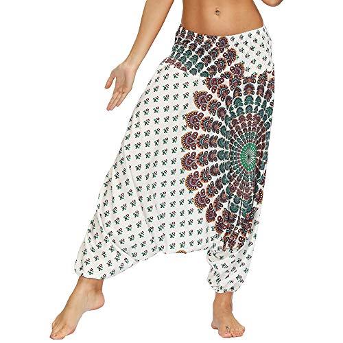 Nuofengkudu Mujer Pantalones Hippies Estampados Baggy Comodos Ligeros Cintura Alta Indios Yoga Pants Casual Playa Fiesta Verano(W-Blanco,Talla única)