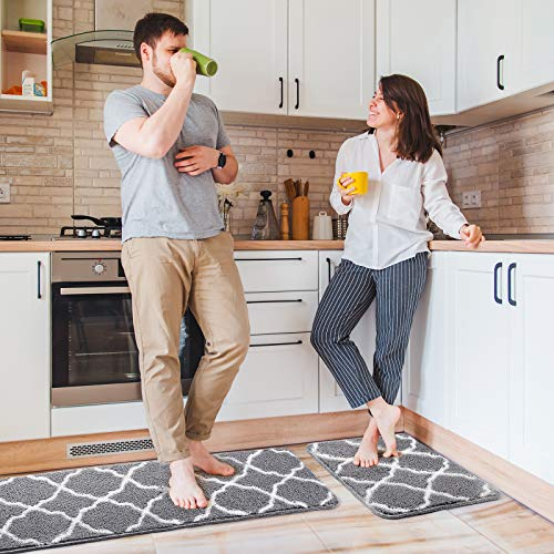"""Delxo Kitchen Rugs and Mats Set,2 Pcs Super Absorbent Non Skid Washable Kitchen Floor Mat,Grey Carpet for Kitchen, Bathroom, Sink,Laundry,Mud 17""""x24""""+17""""x48"""""""